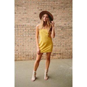 🆕 Yellow Button Linen Mini Dress